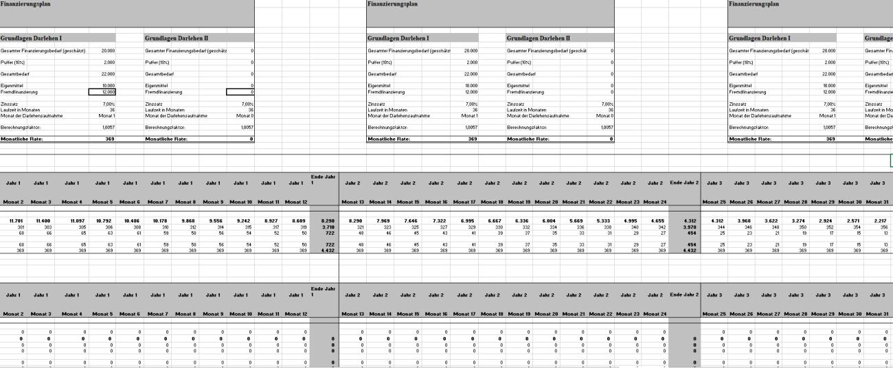 Weiterer Auszug aus dem großen Excel-Finanzierungsplan