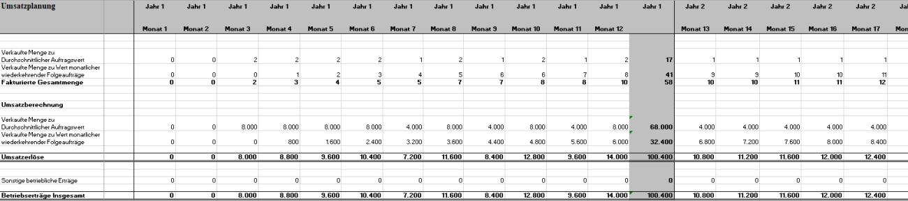 Einblick in das umfangreiche Excel-Tool Umsatzplanung