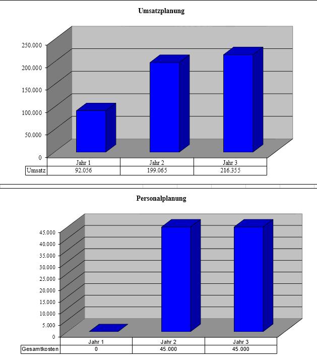 Nachdem Sie alle Daten eingegeben haben, erhalten Sie eine grafische Darstellung im Excel-Tool angezeigt