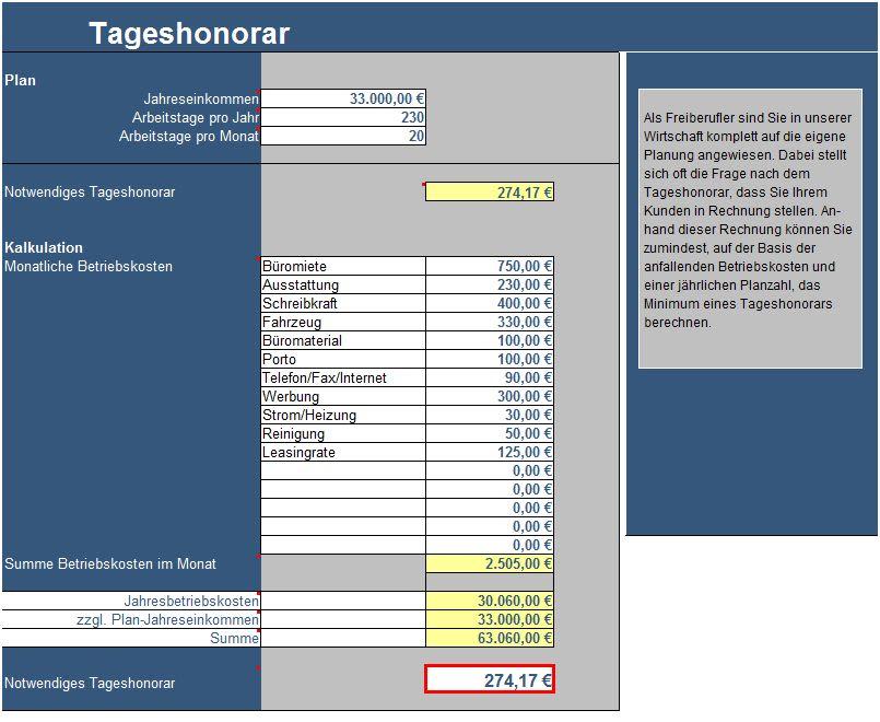 Tabelle zur Berechnung des Tageshonorars