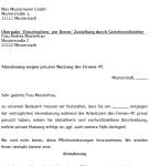 Auszug aus dem Muster eines Abmahnungsschreibens aufgrund von privater Firmen-PC-Nutzung.