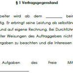 Vertragsgegenstand des Vertrages über freie Mitarbeit mit einem Grafikdesigner.