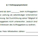 Grundsätzliche Bestimmungen des befristeten Vertrags über freie Mitarbeit.