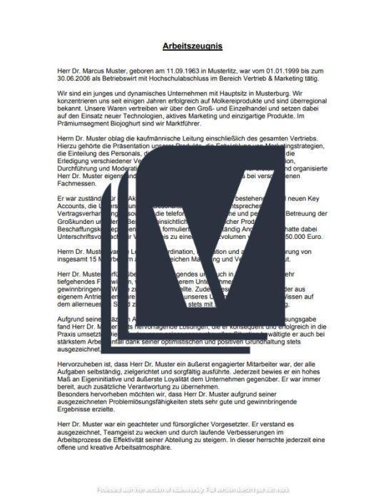 Arbeitszeugnis (sehr gut) - Führungskraft