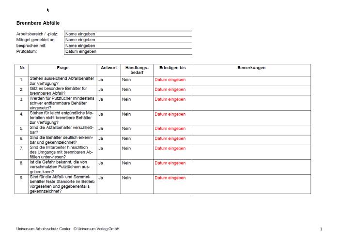 Checkliste - Brennbare Abfälle