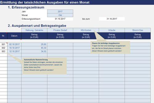 Haushaltsbuch in Excel
