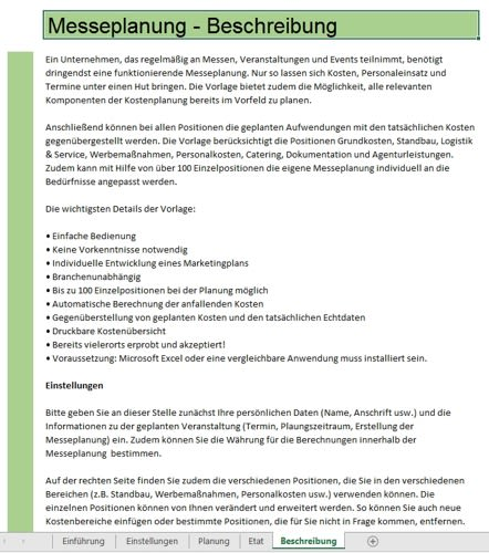Messeplanung Excel-Tool