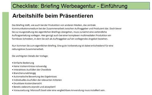 Checkliste Briefing einer Werbeagentur