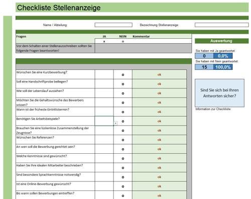 Checkliste: Erstellung einer Stellenanzeige