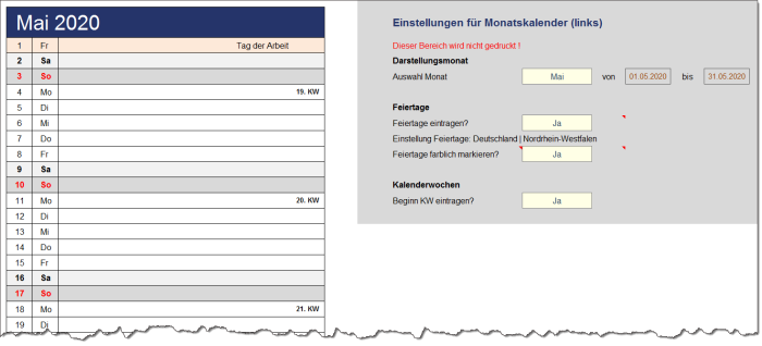 Ewiger Excel-Jahreskalender mit Feiertagen