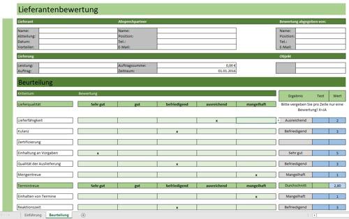 Lieferantenbewertung in Excel