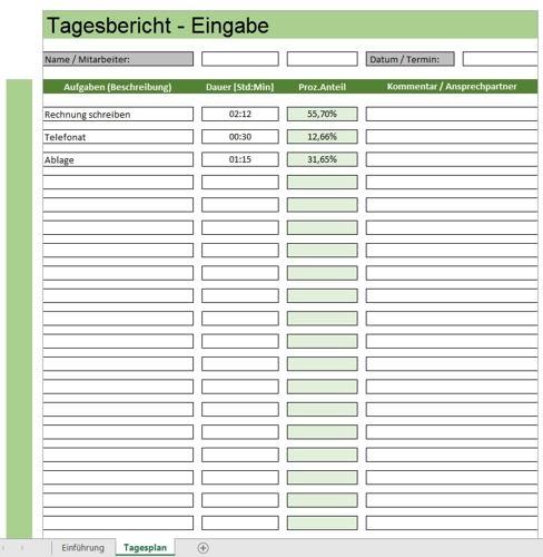 Tagesbericht in Excel