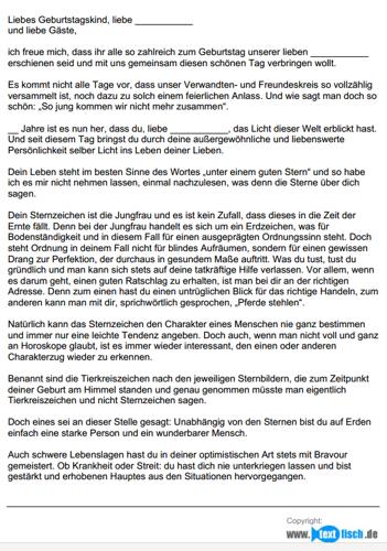 Geburtstagsrede - Sternzeichen Jungfrau (weiblich)