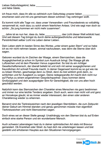 Geburtstagsrede - Sternzeichen Waage (weiblich)