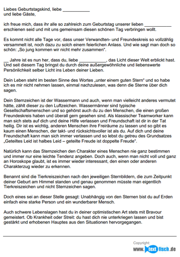 Geburtstagsrede - Sternzeichen Wassermann (weiblich)