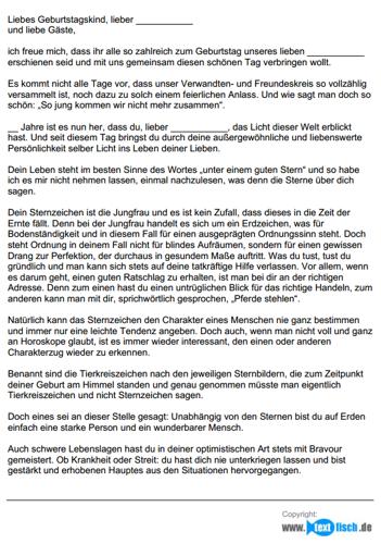 Geburtstagsrede - Sternzeichen Jungfrau (männlich)