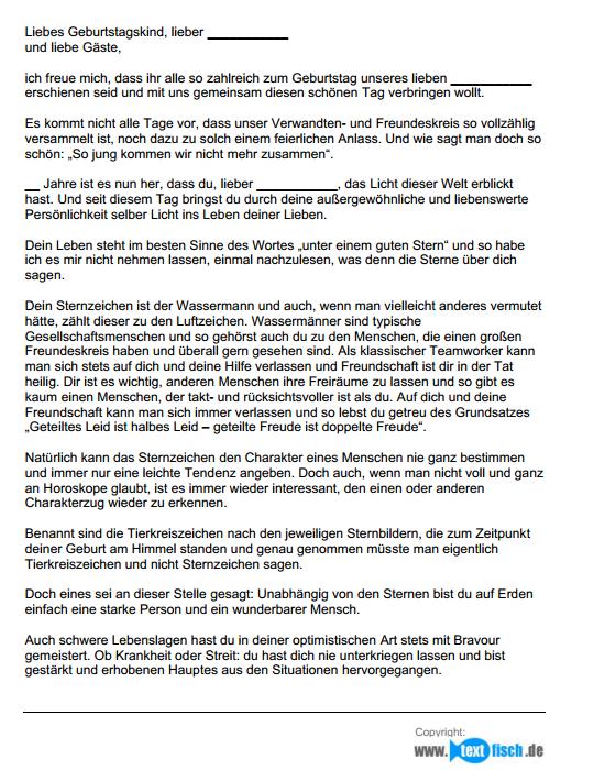Geburtstagsrede - Sternzeichen Wassermann (männlich)