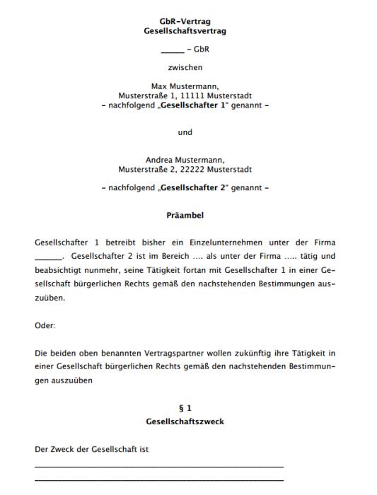 Gesellschaftsvertrag GbR, ausführlich