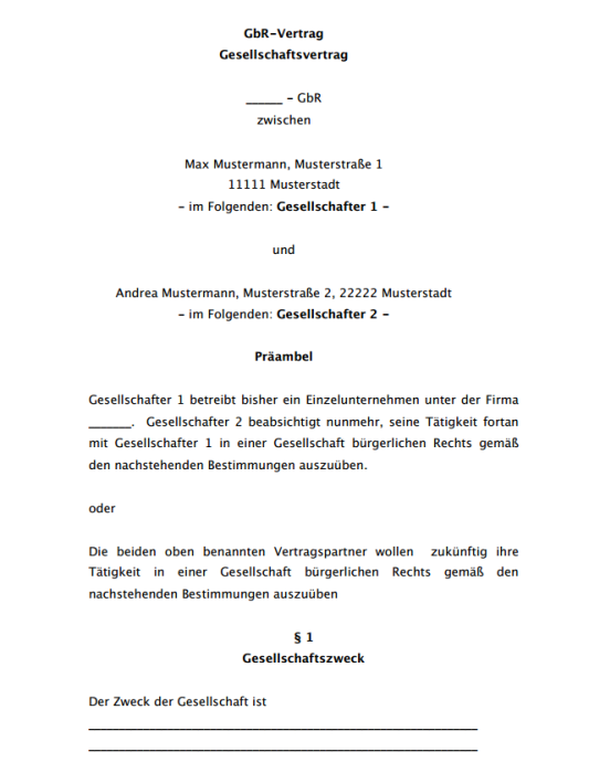 GbR-Vertrag, kurz