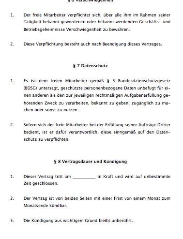 Freie-Mitarbeit - Vertrag