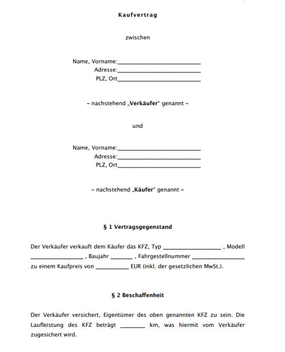 KFZ Kaufvertrag – Käufersicht