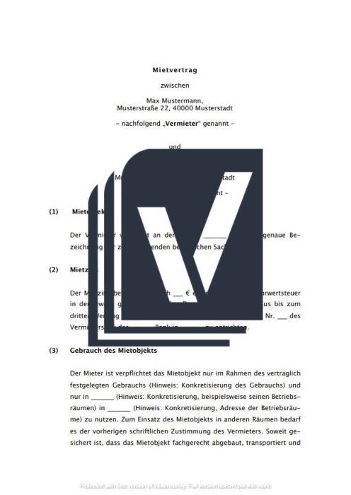 Mietvertrag, bewegliche Sachen (Auto, Maschinen u.a.)