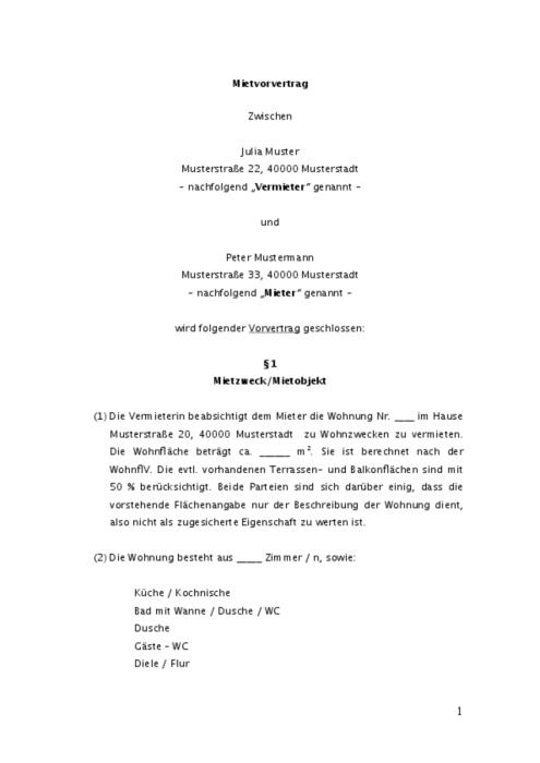 Mietvorvertrag - Mietwohnung