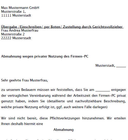 Abmahnung wegen privater Firmen-PC Nutzung - Musterbrief