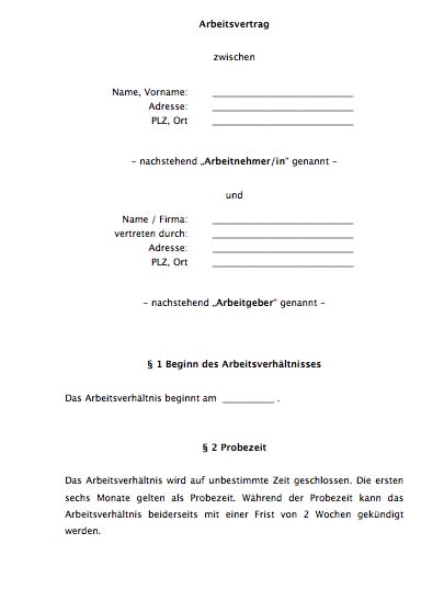 Arbeitsvertrag (ohne Tarifbindung)