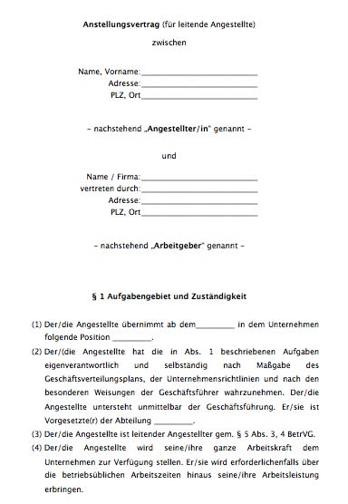 Arbeitsvertrag - leitende Angestellte / leitender Angestellter
