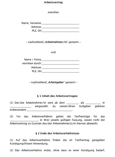Einfacher Arbeitsvertrag (Tarifbindung)