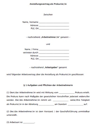 Arbeitsvertrag – Prokurist/Prokuristin