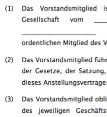 Anstellungsvertrag Aktiengesellschaft (AG)