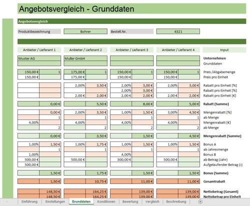 Angebotsvergleich mit Excel