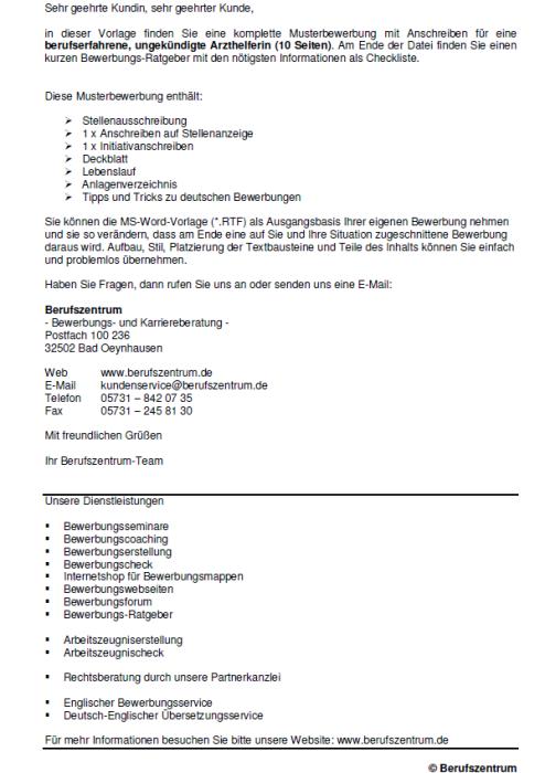 Bewerbung - Arzthelfer - ungekündigt (Berufserfahrung)