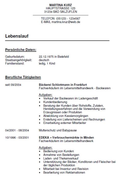Bewerbung - Bäckereifachverkäufer - ungekündigt (Berufserfahrung)