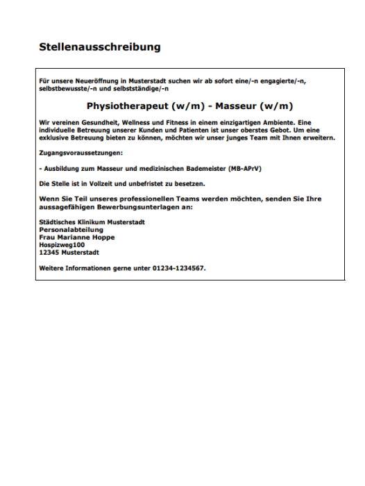 Bewerbung - Rechtsanwalt, ungekündigt (Berufserfahrung)