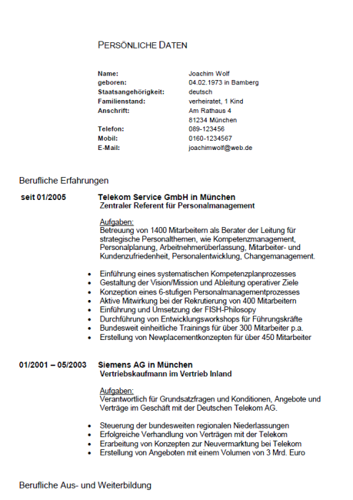 Bewerbung - Personalleiter (Berufseinsteiger)