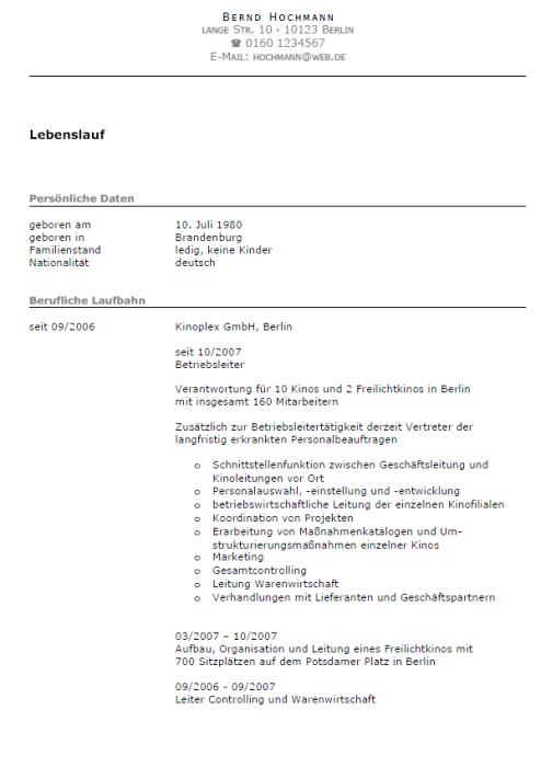 Bewerbung - Personalleiter, ungekündigt (Berufserfahrung)