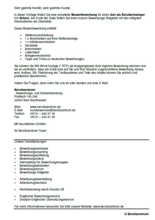 Bewerbung - Arzt (Berufseinsteiger)