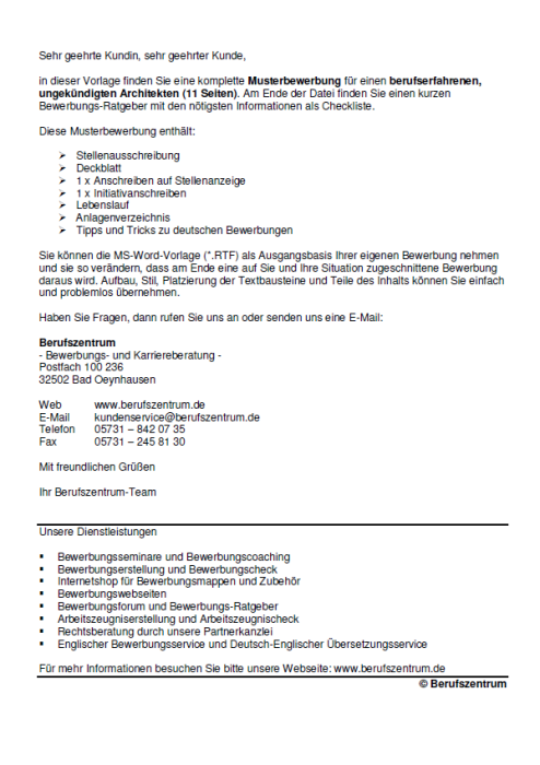 Bewerbung - Architekt - ungekündigt (Berufserfahrung)