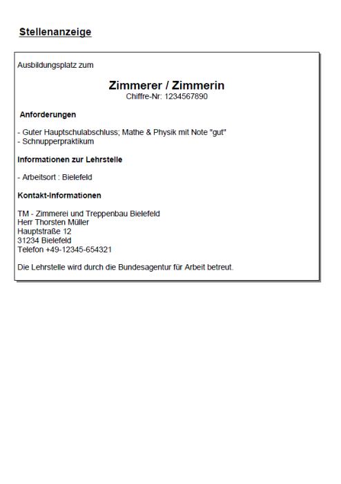 Bewerbung - Zimmerer/in (Ausbildung)