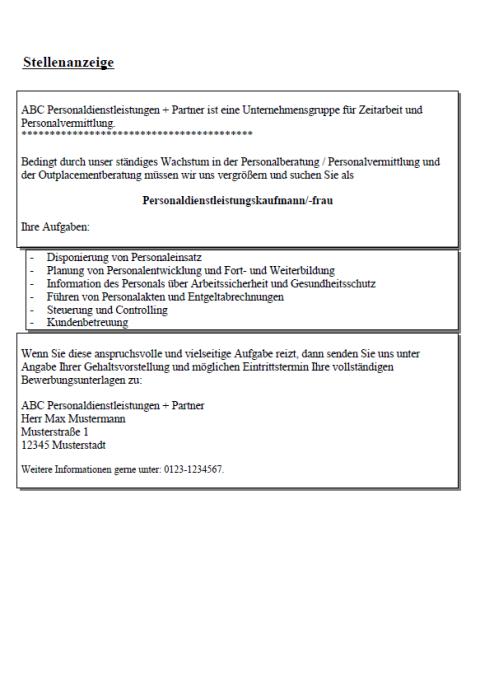 Bewerbung - Personaldienstleistungskaufmann/-kauffrau, gekündigt (Berufserfahrung)