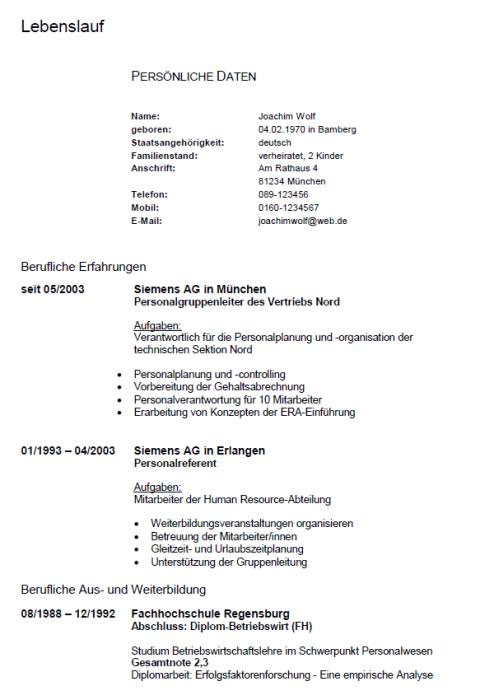 Bewerbung - Personalreferent, ungekündigt (Berufserfahrung)