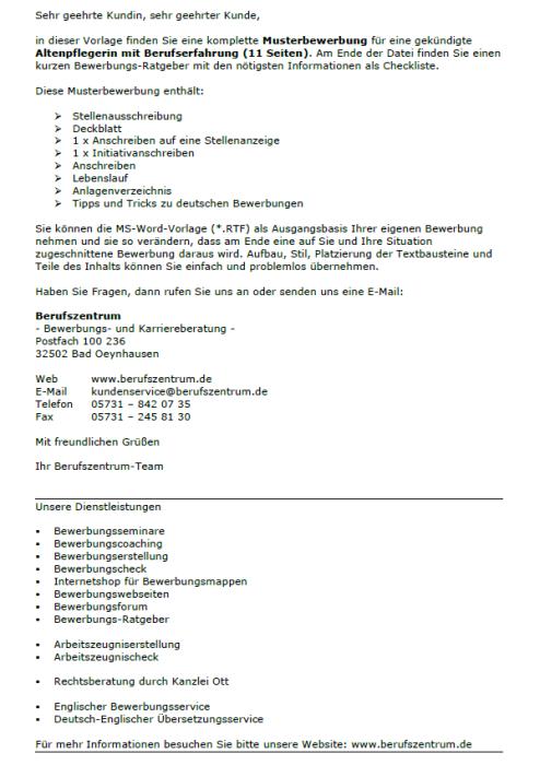 Bewerbung - Altenpflegerin, gekündigt (Berufserfahrung)
