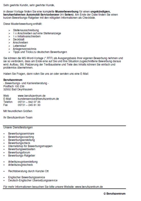 Bewerbung - Automobil - Serviceberater - ungekündigt (Berufserfahrung)