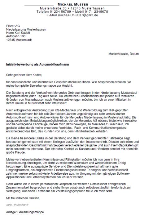 Bewerbung - Automobilkaufmann - ungekündigt (Berufserfahrung)
