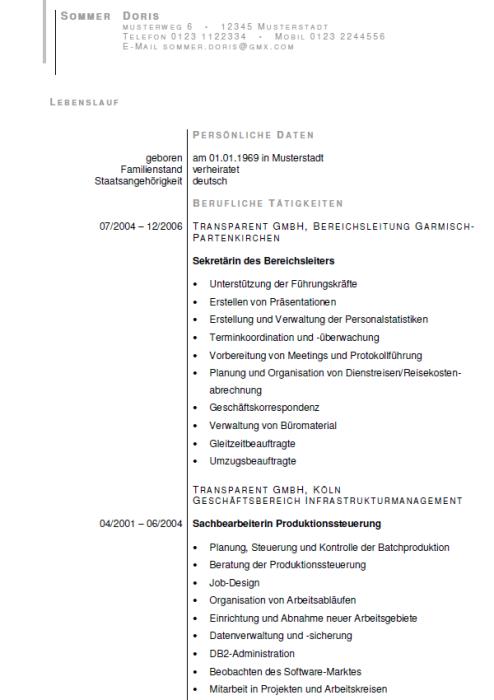 Bewerbung - Chefsekretärin / Assistenz der Geschäftsleitung - gekündigt (Berufserfahrung)