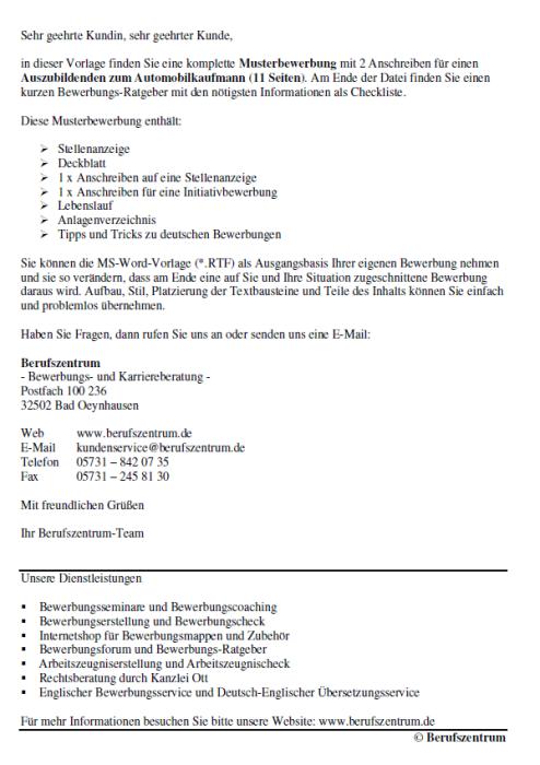 Bewerbung - Automobilkaufmann (Ausbildung)