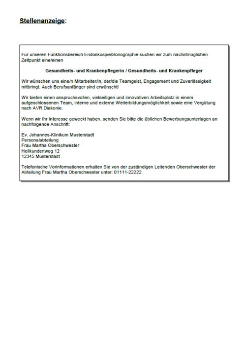Bewerbung - Gesundheits- und Krankenpflegerin (Berufseinsteiger)